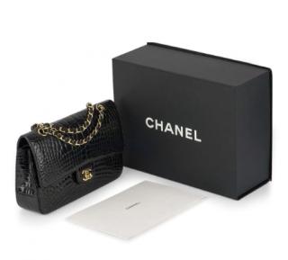 Chanel Medium Black Alligator Double Flap Bag