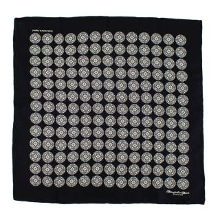 Turnbull & Asser Black Print Silk Handkerchief