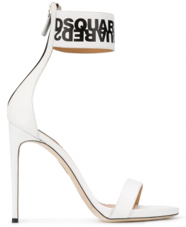 DSquared Logo Ankle Strap Sandals In White