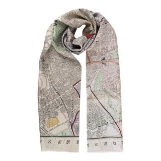 Dunhill Beige Silk Double Faced London Map Scarf