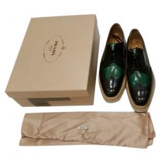 Prada Green & Black Oxford Lace-Ups