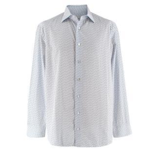 Donato Liguori White Cotton Floral Tailored Long Sleeve Shirt