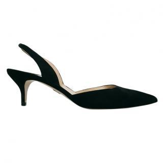 Paul Andrew 'Rhea' black suede slingback sandals