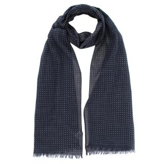 Anderson & Sheppard Navy Cotton Spotted Scarf