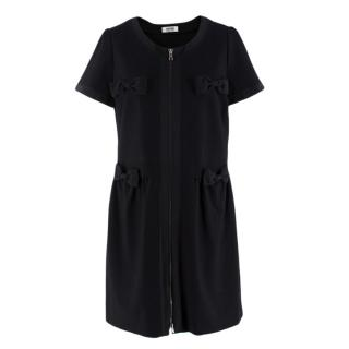 Moschino Cheap and Chic Front Zip Black Bow Dress