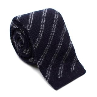Tom Ford Navy Striped Cashmere Knit Square Tie