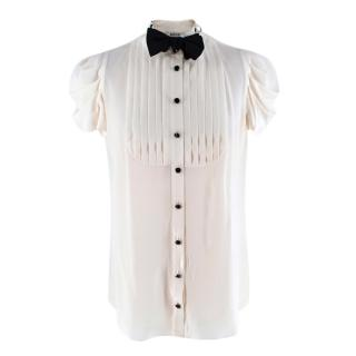 Moschino Cheap And Chic Ivory Silk Bow Tie Pleated Top
