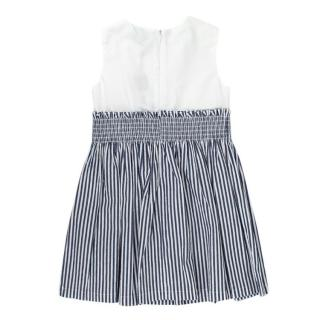 Jo Milano Blue & White Bow Applique Striped Dress