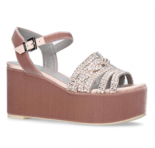 Gina Embellished Velvet Luzon Wedge Sandals