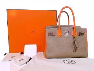 Hermes HSS Etoupe & Les Cles Graffiti Orange/Etoupe Togo Birkin 30 PHW