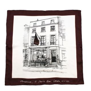 Huntsman Savile Row White/Claret Silk Pocket Square