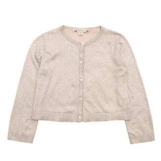 Bonpoint Cream Cotton Silver Glitter Effect Knit Cardigan