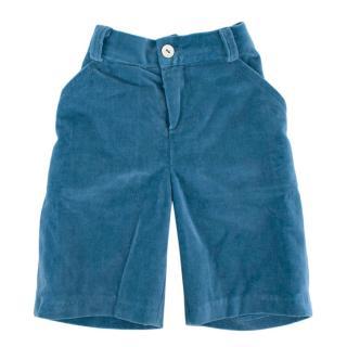La Coqueta Blue Cotton Felt Trousers