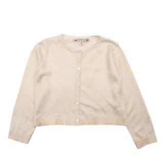 Bonpoint Beige Cotton Golden Glitter Effect Knit Cardigan