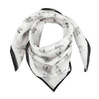 Drake's White & Navy Tennis Cotton Handkerchief