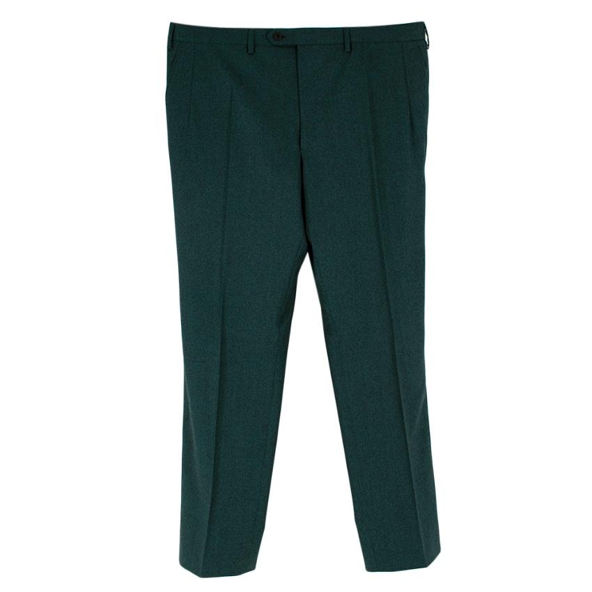 Donato Liguori Green Wool Hand Tailored Trousers