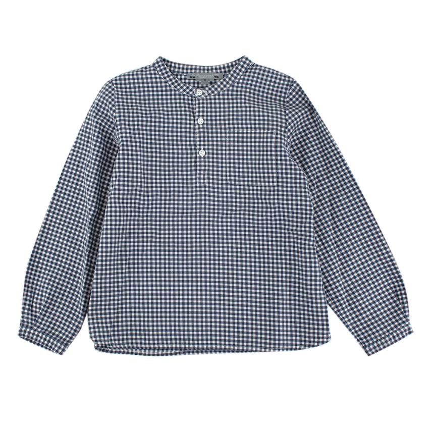 Bonpoint Blue Gingham Mandarin Collar Long Sleeve Shirt