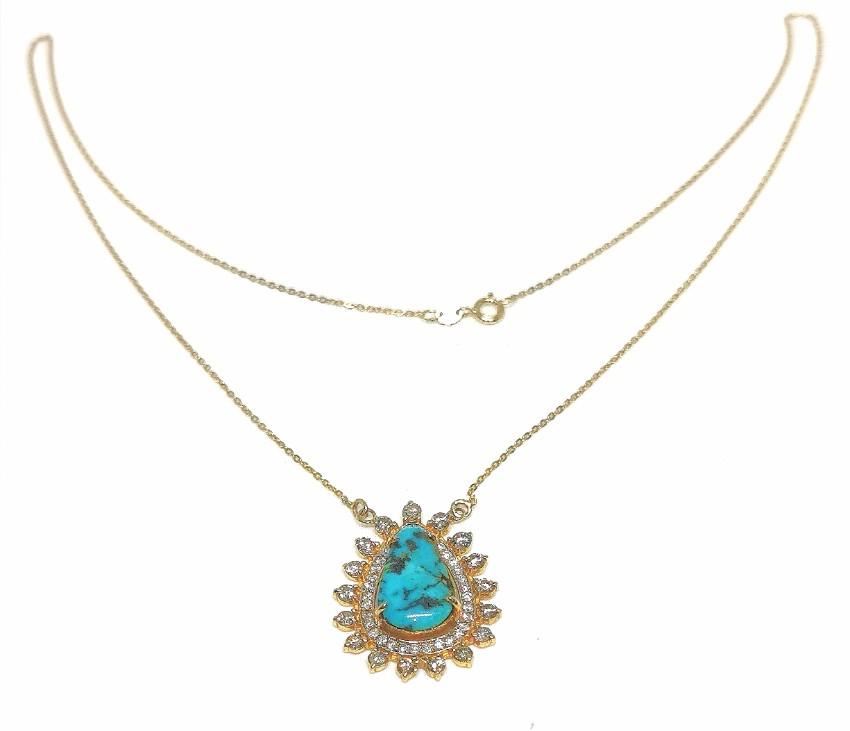 Noor Fares turquoise and diamond talisman pendant