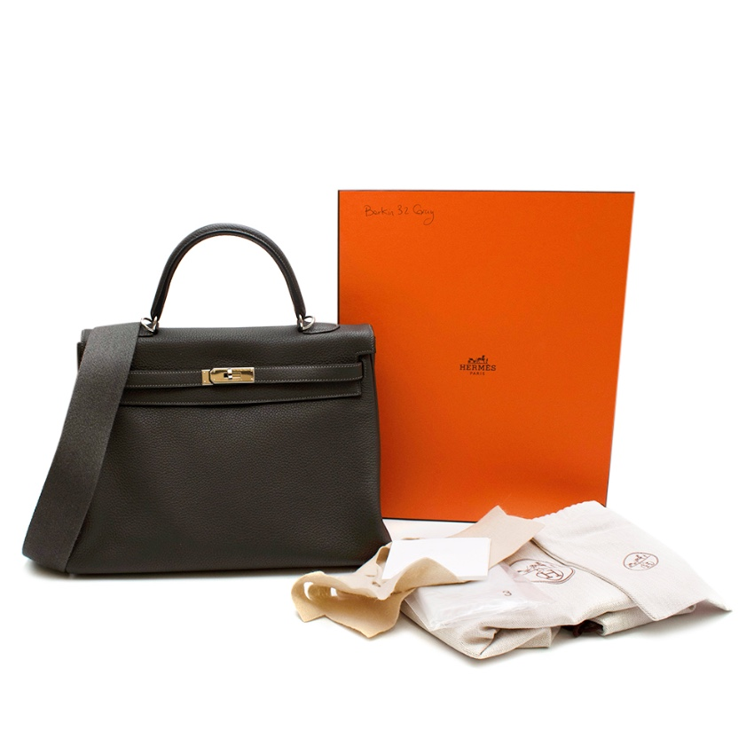 Hermes Etain Clemence Leather Retourne Kelly 35 PHW