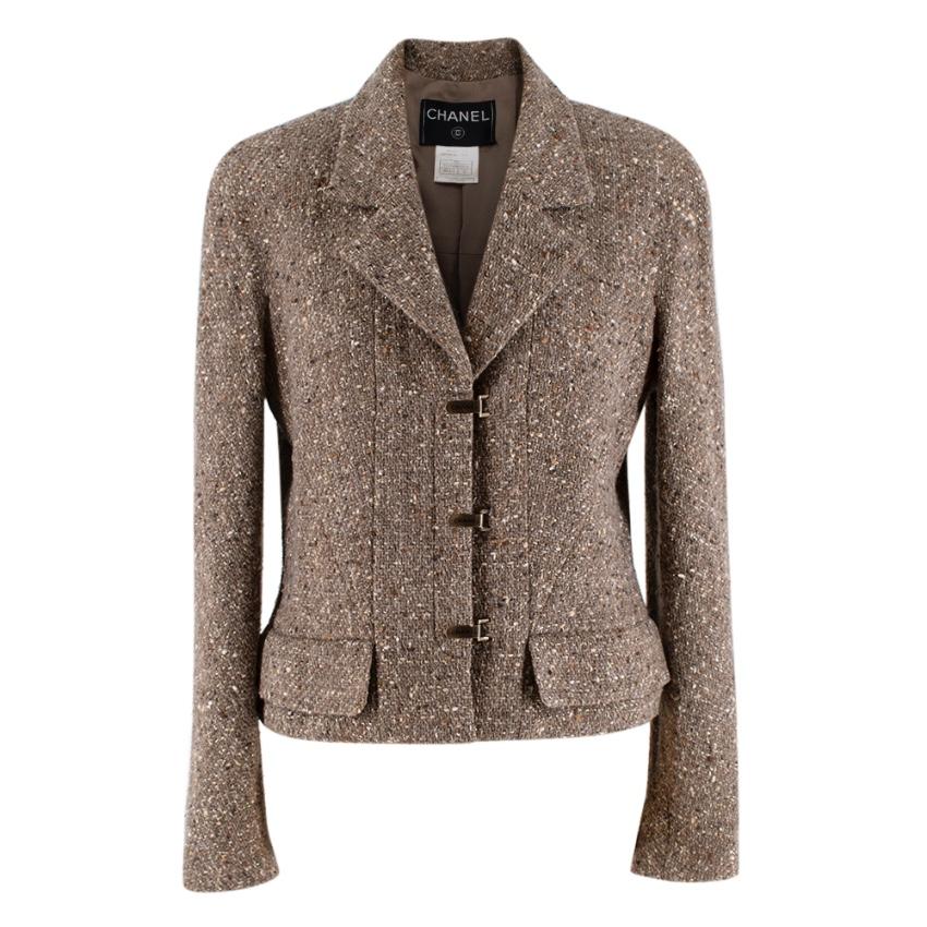 Chanel Vintage Taupe Wool Blend Tweed Jacket