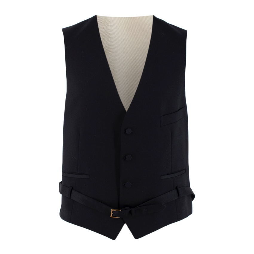 Gucci Black/Ivory Wool Belted Waistcoat