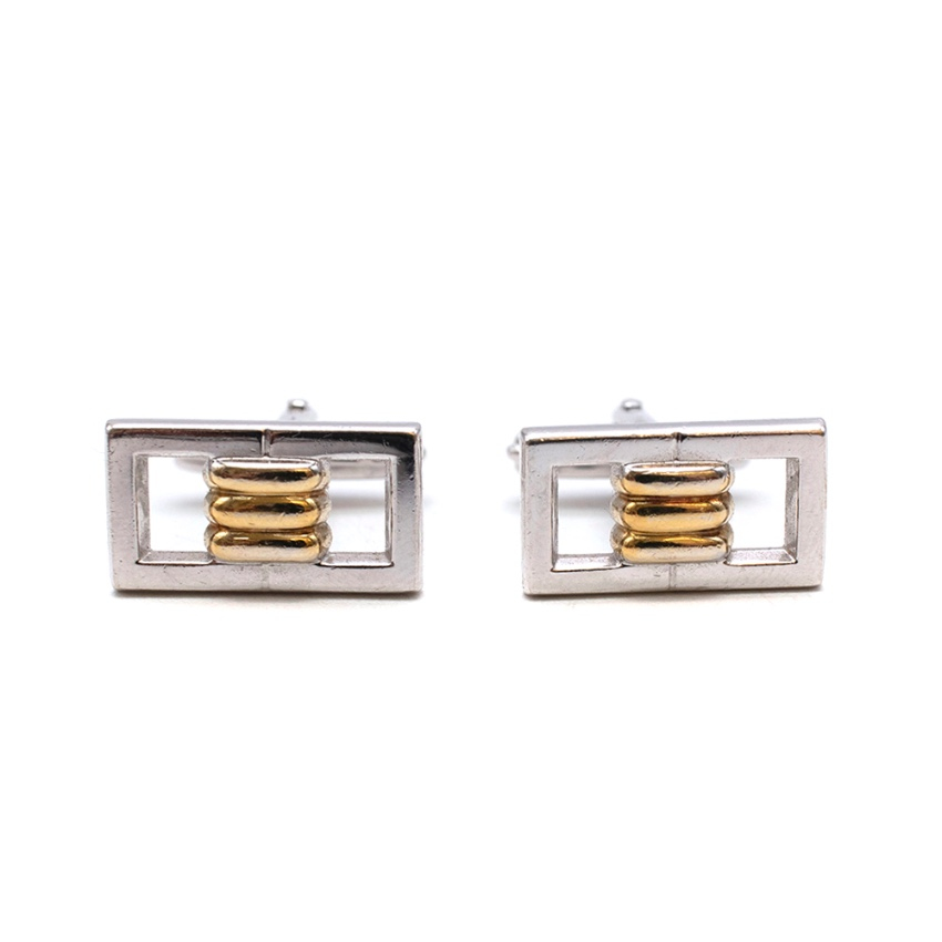 Lanvin Golden & Silver Tone Buckle Cufflinks