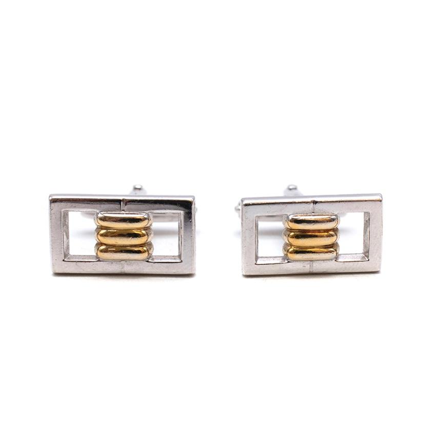 Lanvin Golden & Silver Tone Buckle Cufflinks