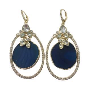 Jenny Packham Blue Enamel Crystal Drop Earrings