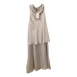 Armani Collezioni Silk Draped Silver Dress