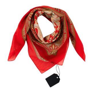 Officina Slowear Red Floral Cotton & Silk Handkerchief