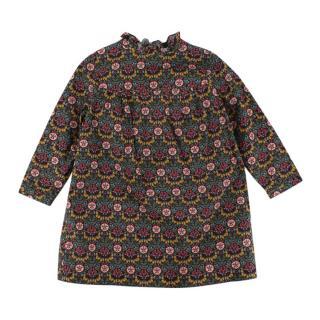 Bonpoint Cotton Floral Ruffle Neck Dress
