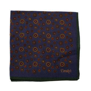 Drake's Blue Geometric Pattern Wool & Silk Handkerchief