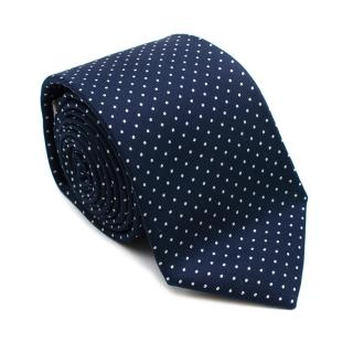Turnbull & Asser Navy Dotted Silk Tie
