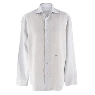 Donato Liguori Tailored White and Blue Pin Striped Shirt