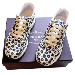Prada Floral Print Lace-Up Sneakers