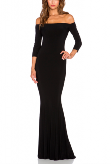 Norma Kamali Off Shoulder Stretch Fishtail Gown
