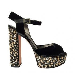Gina Crystal Embellished Velvet Platform Sia Sandals