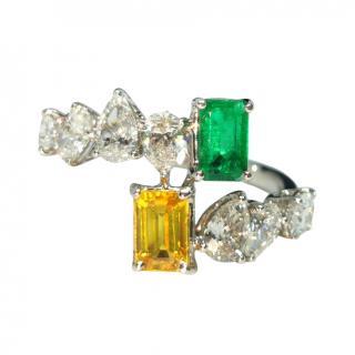 William & Son Mya Emerald, Diamond & Yellow Sapphire Ring