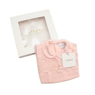 La Perla Pink Soft Cotton Lace Embroidered Baby Grow