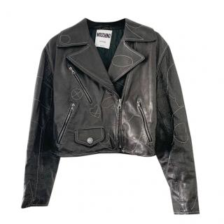 Moschino Leather Vintage Cropped Leather Jacket