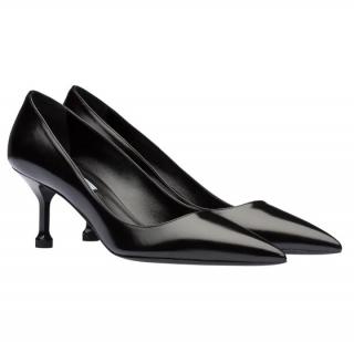 Prada Black Brushed Leather Pin Heel Pumps