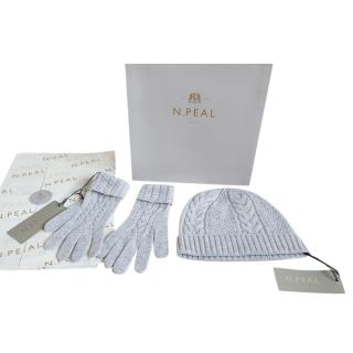N.Peal Grey Cashmere Cable Knit Hat & Gloves