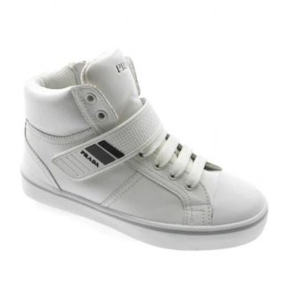 Prada White Lace-Up High Top Sneakers