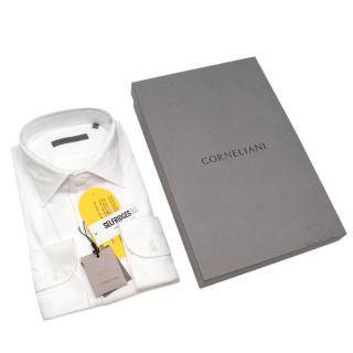 Corneliani White Cotton Jersey Long Sleeve Shirt