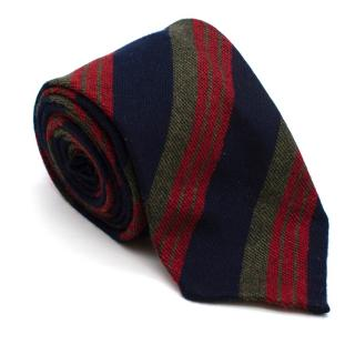 Cesare Attolini Navy Red & Green Striped Wool Tie