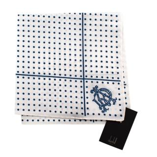 Dunhill White & Navy Spotted Cotton Handkerchief