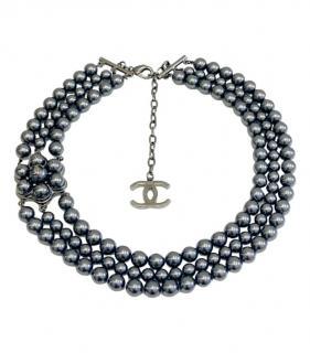 Chanel Faux Pearl Triple Strand CC Necklace