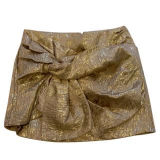 No.21 Gold Brocade Bow Mini Skirt