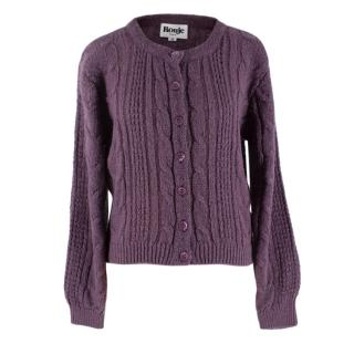 Rouje Mauve Mohair Blend Cable Knit Cardigan