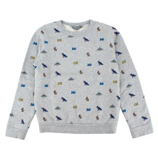 Bonpoint Grey Videogame Print Cotton Sweater